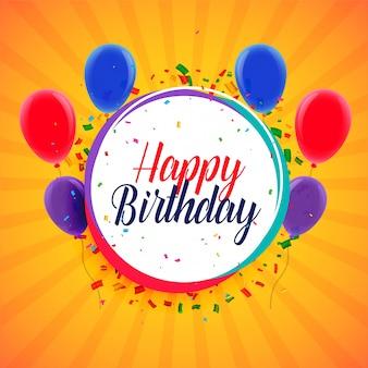 Diseño de tarjeta de feliz cumpleaños con globos y confeti