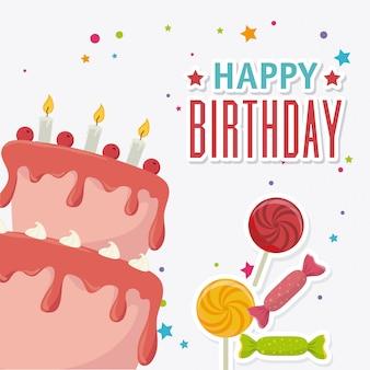 Diseño de tarjeta de feliz cumpleaños.