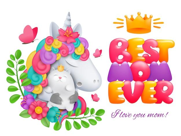 Diseño de tarjeta de feliz día de la madre. el mejor título de mamá. personaje de dibujos animados de unicornio con gato.