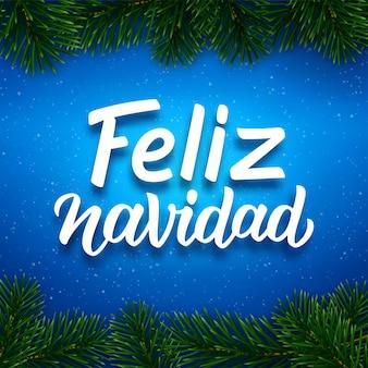 Diseño de tarjeta de feliz navidad con texto en español.