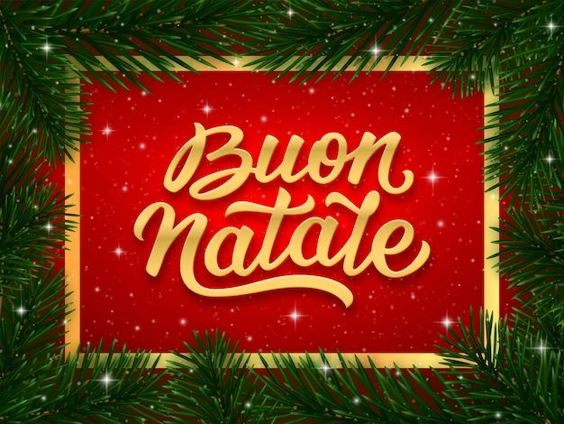 Diseño de tarjeta de feliz navidad con texto italiano