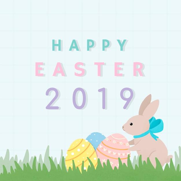 Diseño de tarjeta feliz pascua 2019