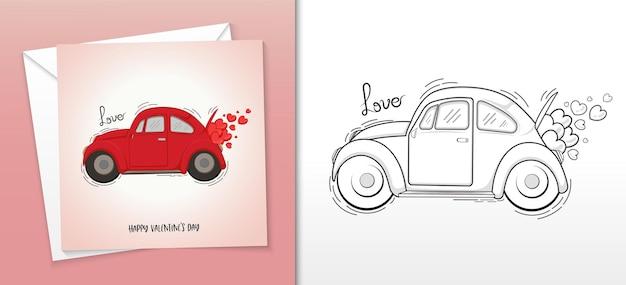 Diseño de tarjeta de feliz san valentín con maletero de coche de época lleno de ilustración de corazones