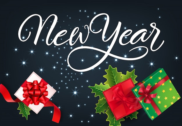 Diseño de tarjeta festiva de año nuevo. regalos, cintas rojas.