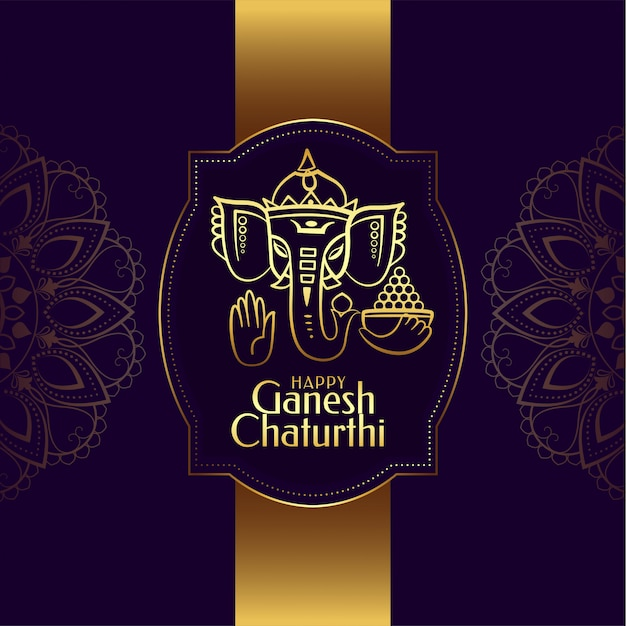 Diseño de tarjeta del festival dorado de ganesh chaturthi