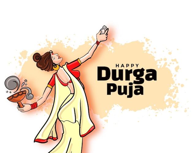 Diseño de tarjeta del festival happy durga pooja navratri