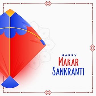 Diseño de tarjeta de festival indio makar sankranti con cometa