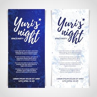 Diseño de tarjeta de fiesta espacial mundial. la pancarta de la noche de yuri o volante. 12 de abril día de la cosmonáutica.
