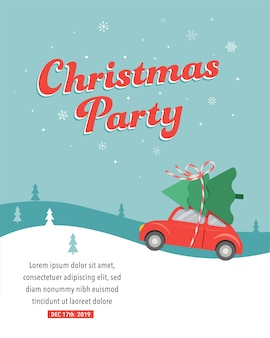 Diseño de tarjeta de fiesta de navidad con coche entregando un árbol de navidad.