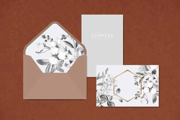 Diseño de tarjeta floral en blanco
