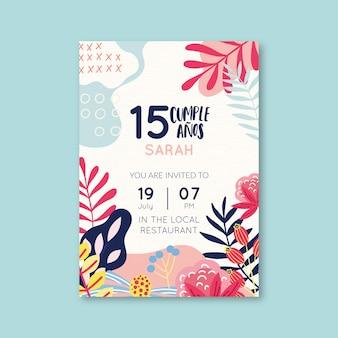 Diseño de tarjeta floral feliz cumpleaños
