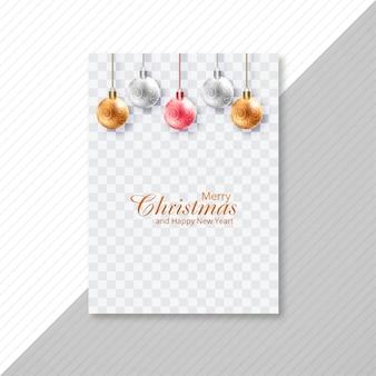 Diseño de tarjeta de folleto de bola brillante de feliz navidad