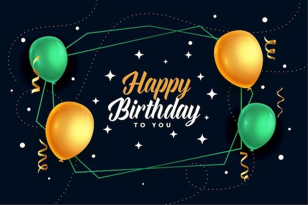 Diseño de tarjeta de globos realistas de feliz cumpleaños