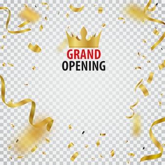 Diseño de tarjeta de gran inauguración con cinta dorada y confeti