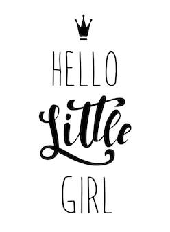 Diseño de tarjeta hello little girl