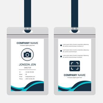 Diseño de tarjeta id oficial corporativa. plantilla de diseño de tarjeta de identidad empresarial profesional
