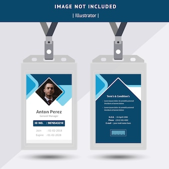 Diseño de tarjeta de identificación azul abstracto