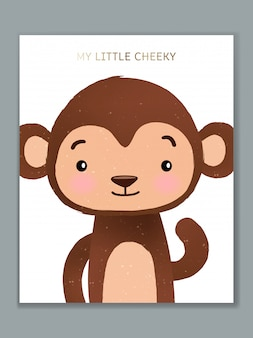 Diseño de tarjeta de ilustración de animales de dibujos animados de lujo para celebración de cumpleaños, bienvenida, invitación de evento o saludo. mono descarado.