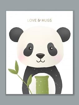 Diseño de tarjeta de ilustración de animales de dibujos animados de lujo para celebración de cumpleaños, bienvenida, invitación a evento o saludo. panda con regalo de bambú.