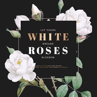 Diseño de tarjeta inspiradora de rosas blancas.