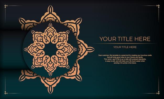 Diseño de tarjeta de invitación con adornos vintage. fondo verde oscuro con lujosos adornos vintage y lugar para el texto.