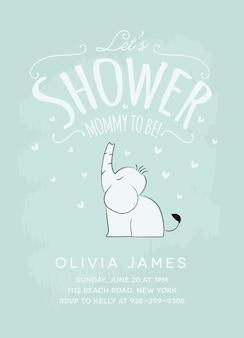 Diseño de tarjeta de invitación de baby shower con elefante sentado tarjeta de plantilla de baby shower