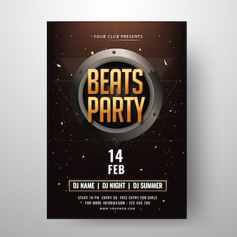 Diseño de tarjeta de invitación de beats party con hora, fecha y lugar det