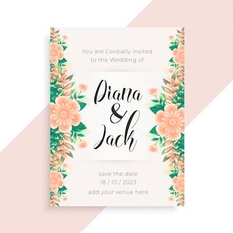 Diseño de tarjeta de invitación de boda concepto de flor