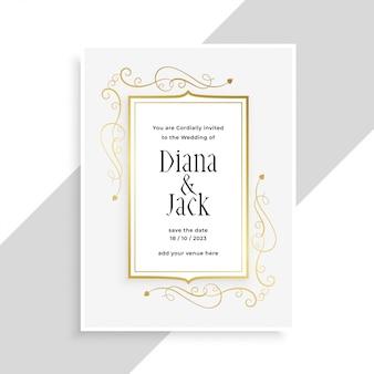 Diseño de tarjeta de invitación de boda elegante marco floral dorado