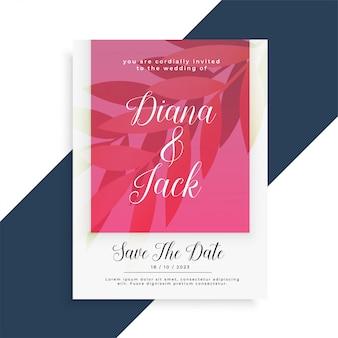 Diseño de tarjeta de invitación de boda con estilo