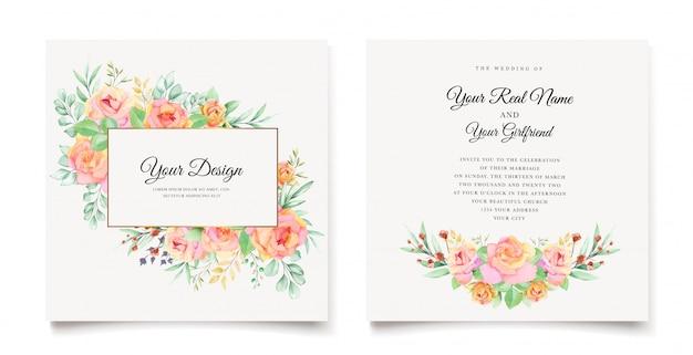 Diseño de tarjeta de invitación de boda floral acuarela