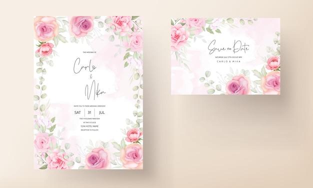 Diseño de tarjeta de invitación de boda floral suave elegante