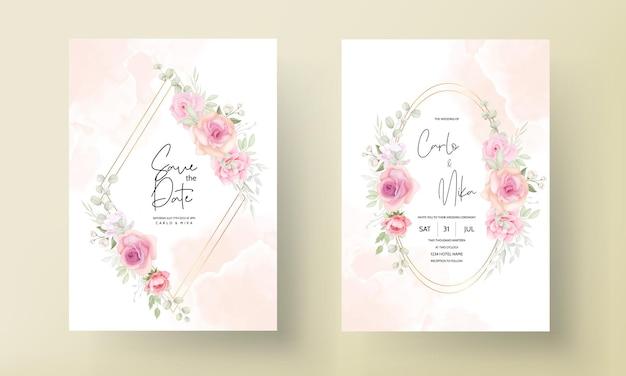 Diseño de tarjeta de invitación de boda floral suave elegante vector gratuito