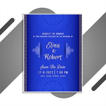 Diseño de tarjeta de invitación de boda hermosa abstracta