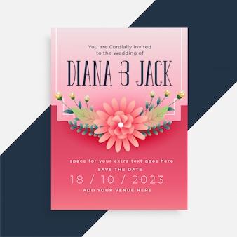 Diseño de tarjeta de invitación de boda hermosa flor