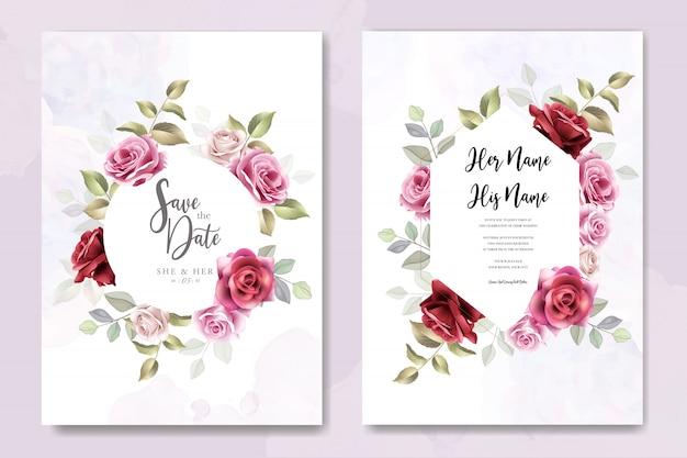 Diseño de tarjeta de invitación de boda con rosas elegantes