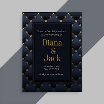 Diseño de tarjeta de invitación de boda con tema oscuro de rpyal