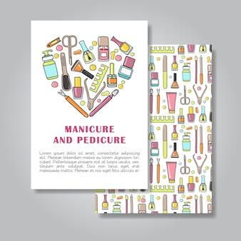 Diseño de tarjeta de invitación de dos lados con manicura y pedicura