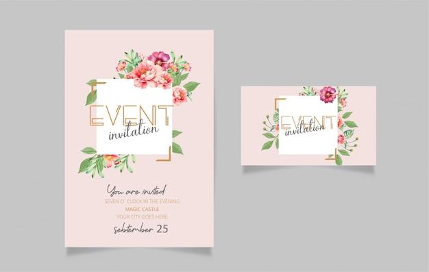 Diseño de tarjeta de invitación editable.