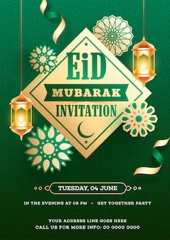 Diseño de tarjeta de invitación eid mubarak decorado con colgante dorado.