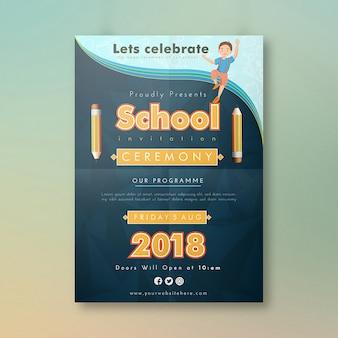 Diseño de tarjeta de invitación de escuela de dibujos animados