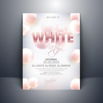 Diseño de tarjeta de invitación fiesta blanca con esferas abstractas 3d en g