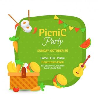 Diseño de tarjeta de invitación de fiesta de picnic.