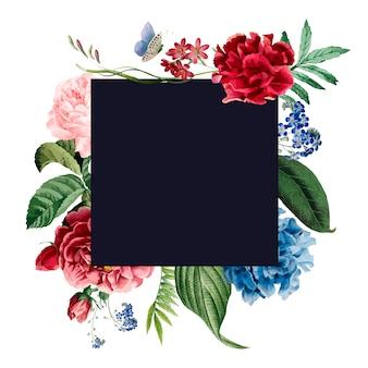Diseño de tarjeta de invitación de marco floral