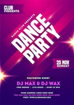 Diseño de tarjeta de invitación, plantilla o folleto de dance party con detalles de hora, fecha y lugar.