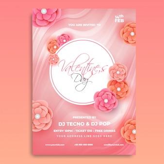 Diseño de tarjeta de invitación de san valentín