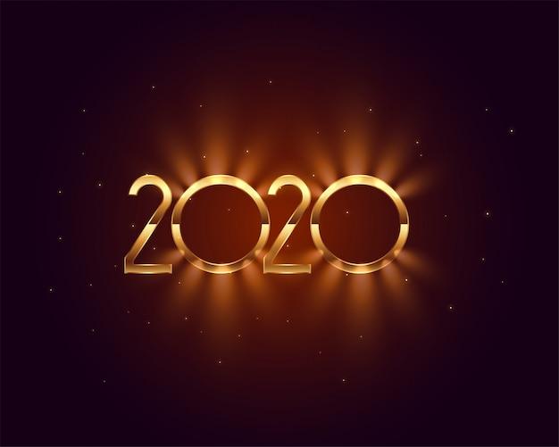 Diseño de tarjeta de luz dorada brillante de año nuevo 2020