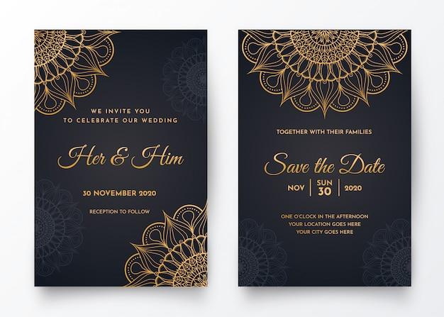Diseño de tarjeta de mandala degradado de lujo