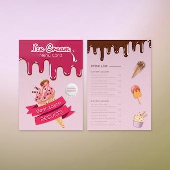 Diseño de tarjeta de menú de helados