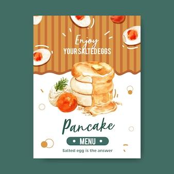 Diseño de tarjeta de menú de huevo salado con hoja, panqueque, crema ilustración acuarela.